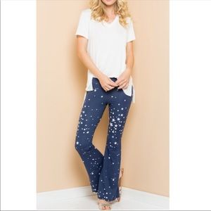 Pants - Star-patterned flare pants